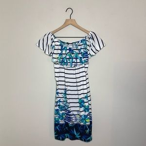NWT Tommy Bahama Striped Off the Shoulder Dress